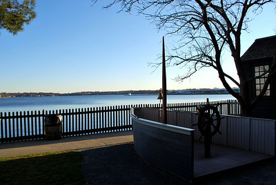 A view from the grounds at the House of the Seven Gables Historic Site towards Derby Wharf in Salem Harbor.