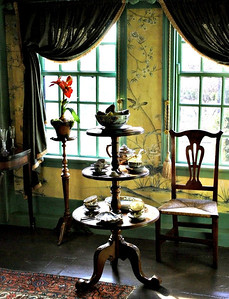 Period dishes in the dining room at the House of the Seven Gables
