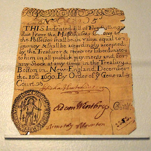 Massachusetts Five Shilling Note dated December 10th, 1690.