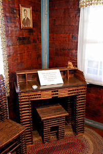 A writing desk made from papers about Charles Lindbergh's flight across the Atlantic.