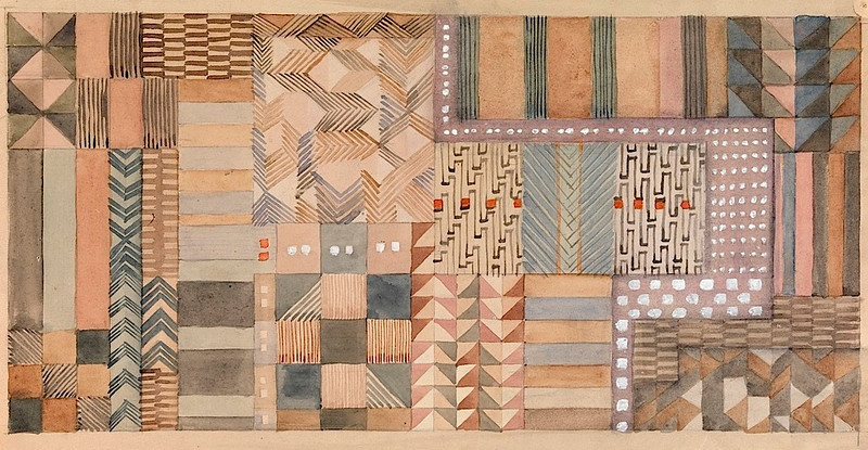 """Design for a fabric in Jacquard technique 1927 18.5x37.5 cm <a href=""""http://old.collection.cooperhewitt.org/view/objects/asitem/People$00407149/0;jsessionid=602AEF96199931591F6DF7666456C7A5?t:state:flow=6c818aa7-9940-4847-9c25-663af5436b0d"""">Cooper-Hewitt</a>, National Design Museum, New York"""
