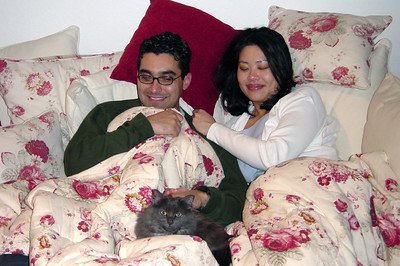 Paul and Bernice with Bella on sofa