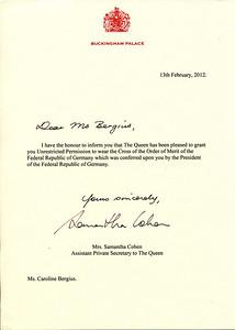 Urkunde vom Buchingham Palace