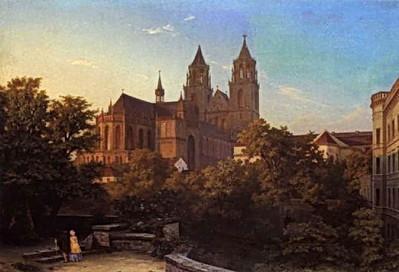 Hermann Gemmel - Blick auf den Magdeburger Dom (1844)