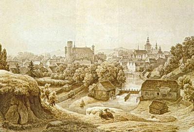 Hermann Gemmel - Ansicht einer Stadt am Fluss (1853)