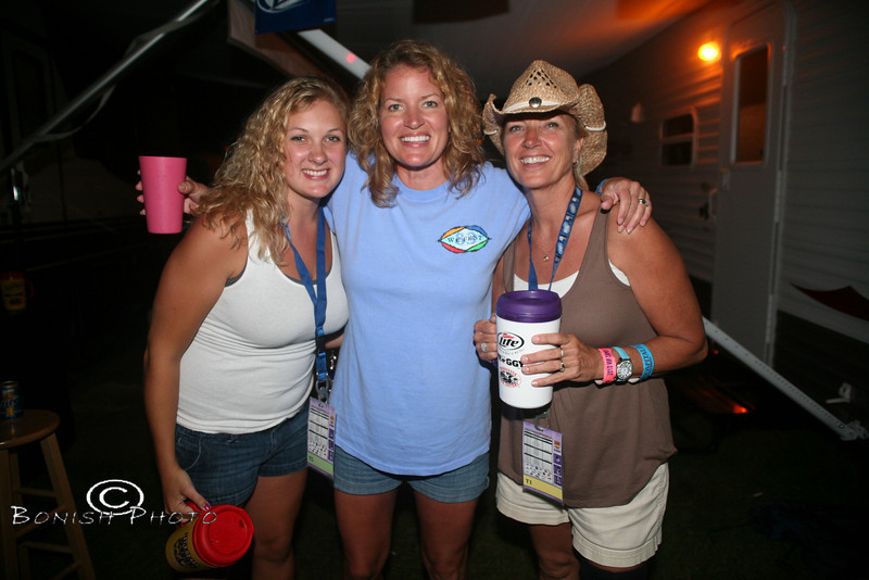 Morganne, Cindy and Deb Partying in the VIP Miller Camp - WeFest 2010 - Photo by Pat Bonish