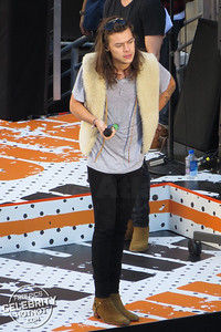 Harry Styles Wears Saint Laurent Sheepskin Gilet And Shows Off Tattoos With 1D Bandmates