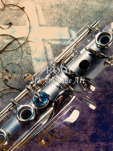 Clarinet Music Instrument and Cross Wall Art 3520.02