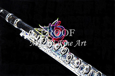 Silver Flute Red Rose Canvas Art 8001.529