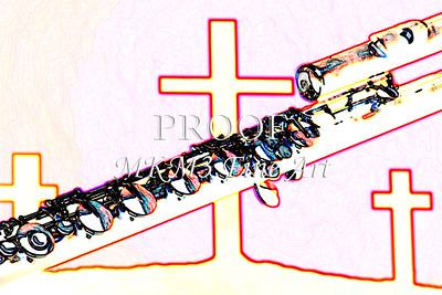 FLute Over Christian Crosses Wall Art Drawing 8001.615