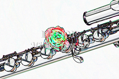 Base Flute Red Rose Wall Art Drawing 8001.607