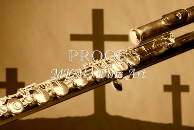 Sepia Flute With Crosses Music Art 0010.92