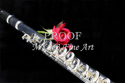 Silver Flute Red Rose CAnvas Art FRR001
