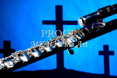 FLute Over Christian Crosses Wall Art 0010.32