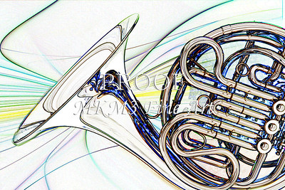 Modern French Horn Watercolor Print 2084.47