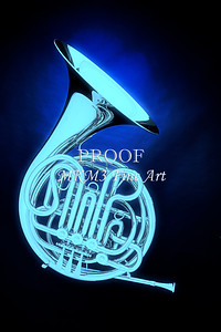 French Horn Blue on black 2079. 04