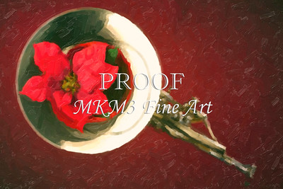Red Flower in Bell of French Horn Painting in Color 3436.02