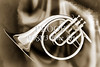 Painting of a French Horn Antique Classic in Sepia 3430.01