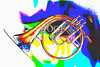 French Horn Painting Antique Classic in Color 3426.02