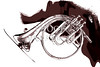 French Horn Painting Antique Classic in Sepia 3426.01