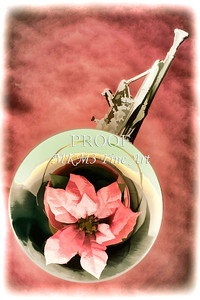 French Horn and Red Flower Painting in Color 3435.02