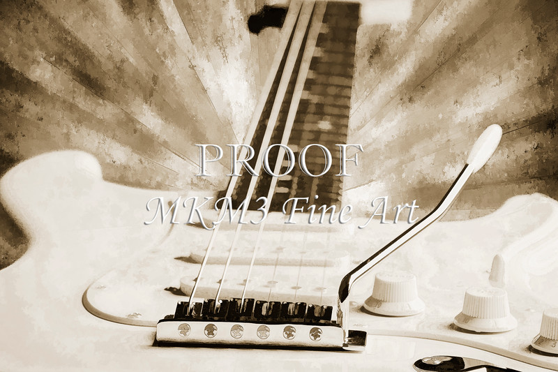Guitar in Flight Painting Photograph in Sepia 3316.01