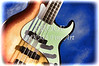 Electric Guitar Painting in Colors Blue Brown 3320.02
