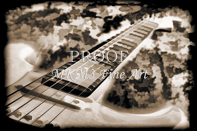 Electric Guitar Painting Photograph in Sepia 3318.01