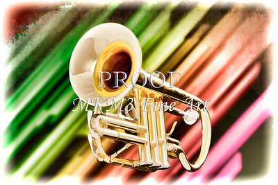 Trumpet Music Instrument Painting in Color 3223.02