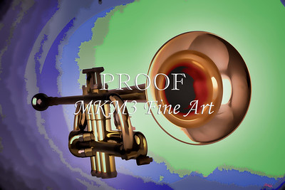 Trumpet Painting in Color Blue, Gold, Green 3148.02