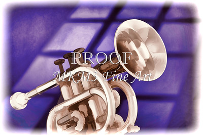 Trumpet Cornet Painting in Colors Purple, Blue 3149.02