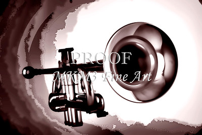 Trumpet Painting in Black and white sepia 3148.01