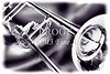 Trombone Painting in black and white sepia 3205.01