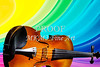 Viola Violin on a Rainbow Background in Color 3071.02