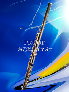 Bassoon Music Instrument Fine Art Print in Color Blue 3410.02