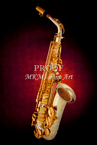 Saxophone on Red Painting Canvas Prints 3146.02