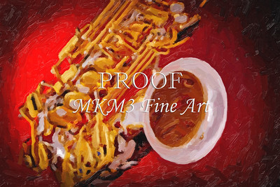 Red Color Painting of Saxophone Music Art 3360.02
