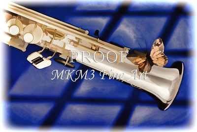 Soprano Sax and Butterfly Painting on Blue 3351.02