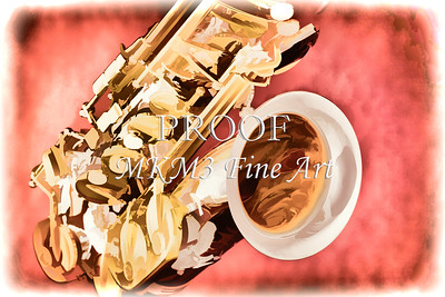 Red Color Saxophone Wall Art Painting 3359.02