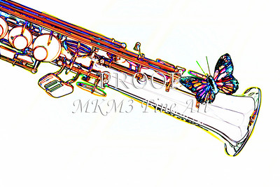 Soprano Sax with Butterfly Print 3350.602