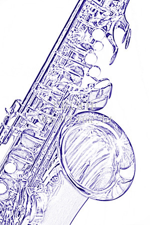 Wall Art Drawing of Saxophone 3356.03
