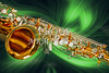 Sax Swirl Music  Art Painting in Green 3249.02