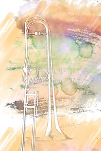 Trombone in Haze Painting 2603.12