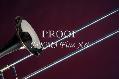 Trombone  Isolated on Red Wall Art 2601.09