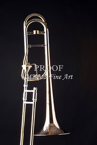 Trombone on Black Black Metal Wall Art 2601.10