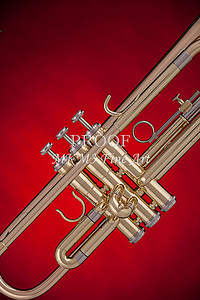 Gold Trumpet On Red 2501.03