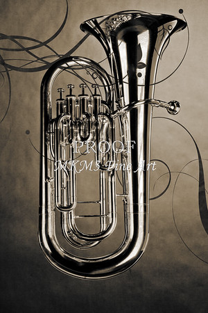 Photograph of Bass Tuba Brass Instrument in Sepia 3394.01