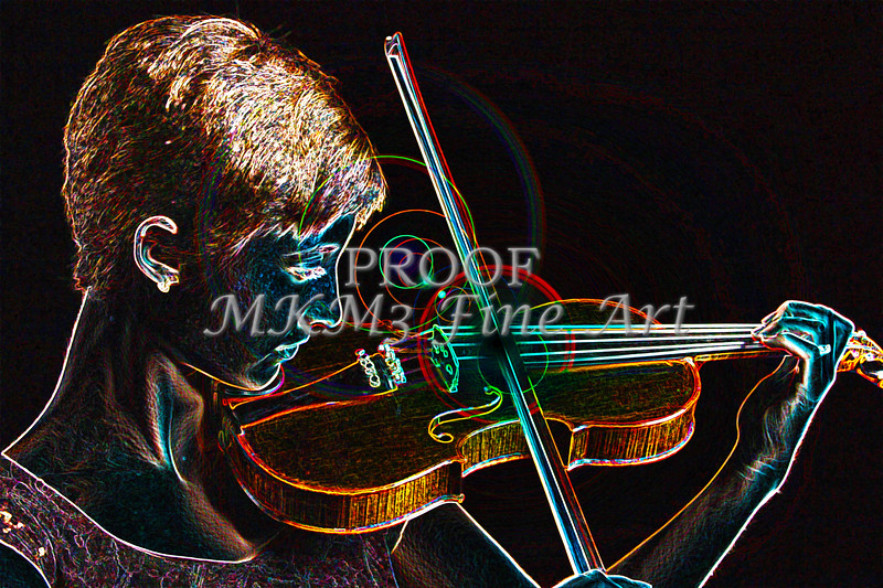 Exciting Girl performance Violin Dark Drawing 5017