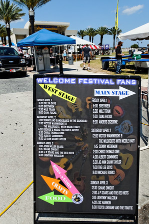 Scene from the pre-festival set-up... The schedule of performers.