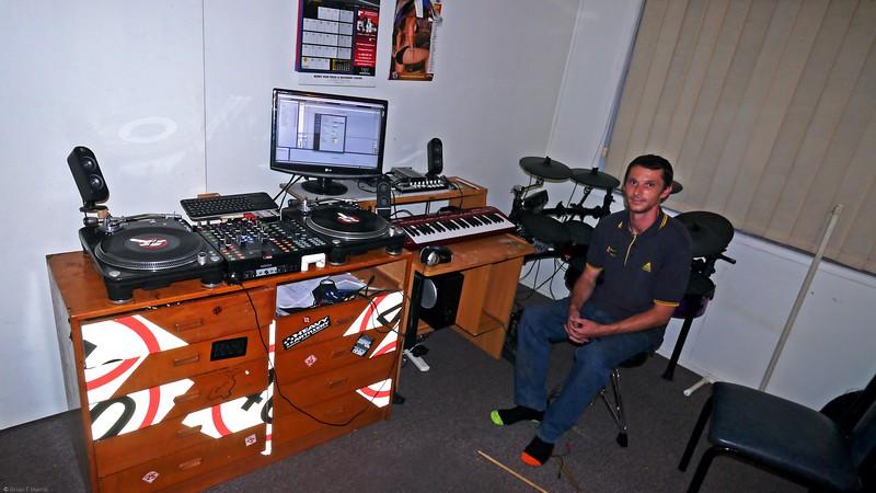 Paul Harris in his music den at Bundy.